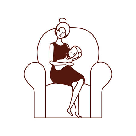 cute pregnancy mother with little boy in livingroom vector illustration design