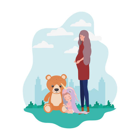 cute pregnancy mother with little girl in the camp vector illustration design Ilustrace