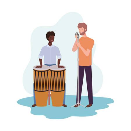 men with musicals instruments on white background vector illustration design 向量圖像