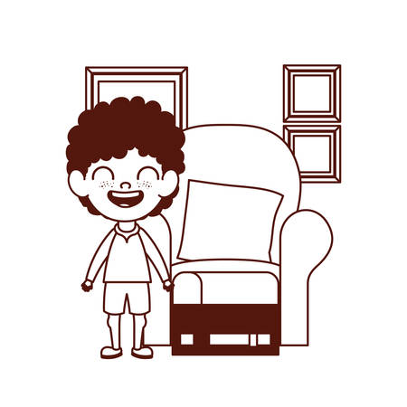 cute little boy baby in the living room character vector illustration design Stock Illustratie