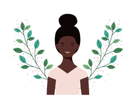 young woman with branches and leaves background vector illustration design Stock fotó - 130164788