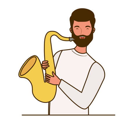 young man with saxophone on white background vector illustration design Illustration