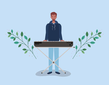 afro man playing piano character vector illustration design 向量圖像