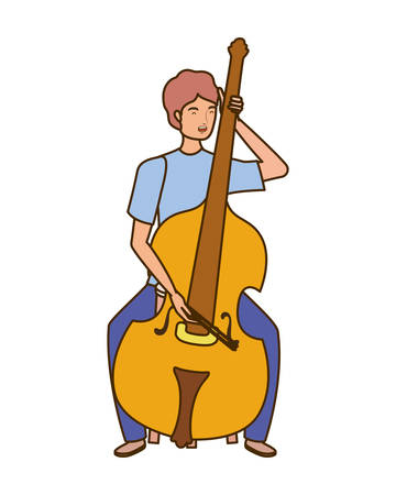 young man with fiddle on white background vector illustration design