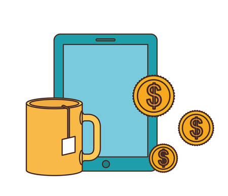 smartphone with money around in white background vector illustration design