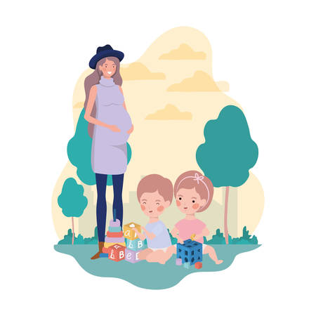 cute pregnancy mother with little kids in the camp vector illustration design Иллюстрация