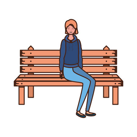 woman sitting in park chair on white background vector illustration design Ilustração