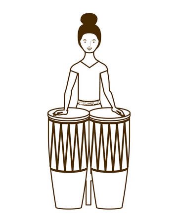 silhouette of woman with congas on white background vector illustration design