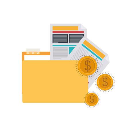 folder with office objects on white background vector illustration design Çizim