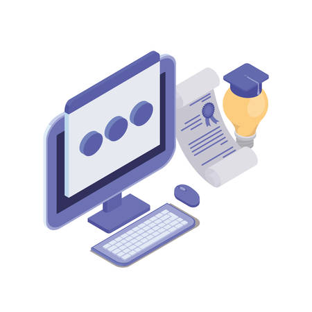 set of icons with desktop computer screen vector illustration design
