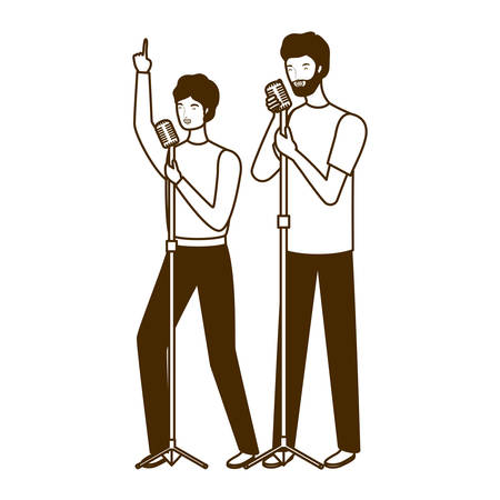 silhouette of men with microphone white background vector illustration design