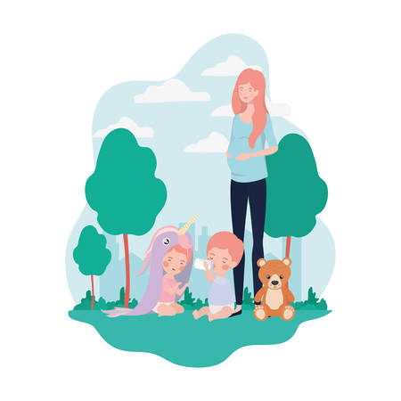 cute pregnancy mother with little kids in the camp vector illustration design Illustration