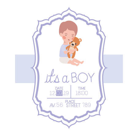 its a boy card with little baby and bear teddy vector illustration design