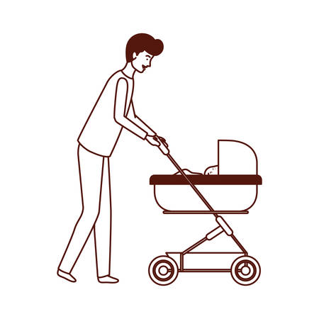 father with little boy in cart vector illustration design Ilustrace