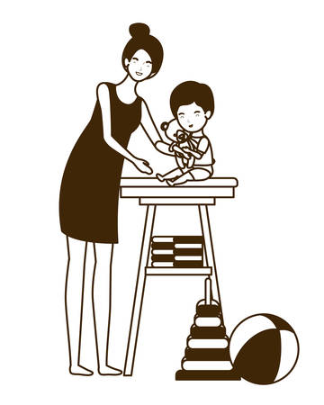 cute pregnancy mother with little baby in changer vector illustration design