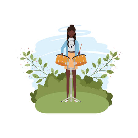 woman with timpani and branches and leaves in the background vector illustration design