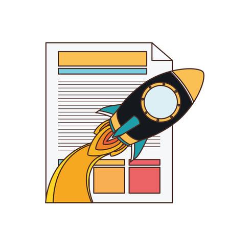 special rocket with file sheet vector illustration design Ilustração