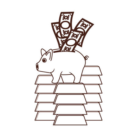 silhouette of money savings and pig on white background vector illustration design