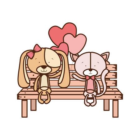 cute animals sitting in the park chair vector illustration design Ilustração