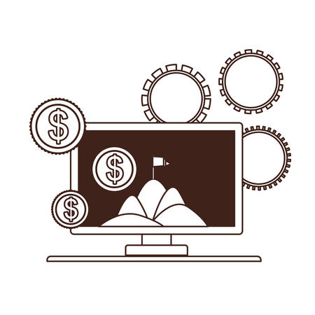 set of icons with computer screen in white background vector illustration design