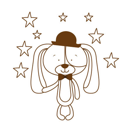 silhouette of cute puppy with hat and bowtie vector illustration design