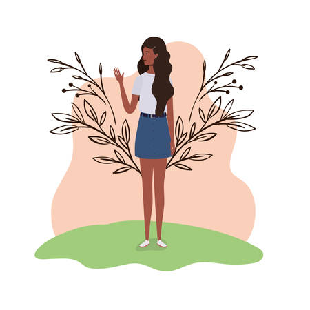 young woman standing with landscape background vector illustration design Ilustrace