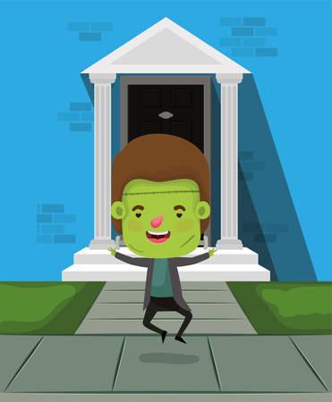 little boy with costume of frankenstein in house door vector illustration design