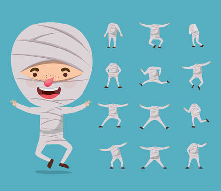 cute little boy with mummy costume and set icons vector illustration design