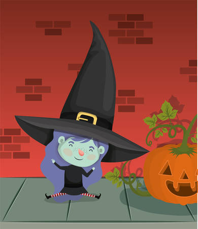 little girl with witch costume in the wall and pumpkin vector illustration design Ilustração