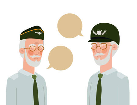 war veterans with speech bubble character vector illustration design
