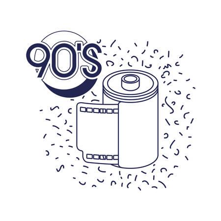 retro roll photographic ninetys icon vector illustration design