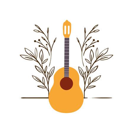 chitarra acustica con rami e foglie sullo sfondo illustrazione vettoriale design