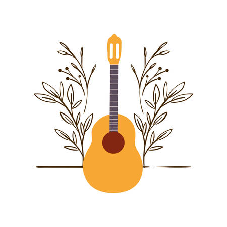 guitar acoustic with branches and leaves in the background vector illustration design