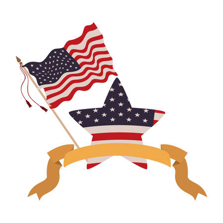 united states flag with star isolated icon vector illustration design