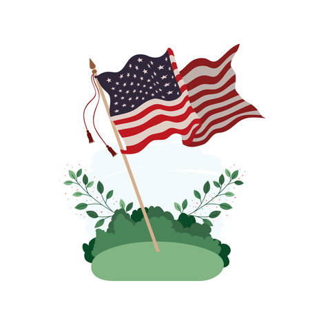 united states flag in landscape icon vector illustration design