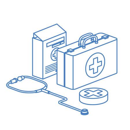 first aid kit on white background vector illustration design Ilustração