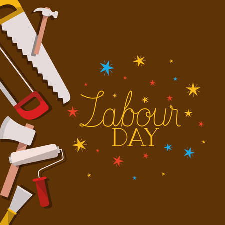 set of tools construction labour day frame vector illustration design