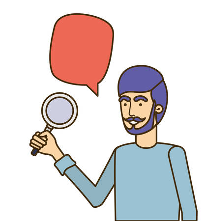 man with magnifying glass in white background vector illustration design Иллюстрация