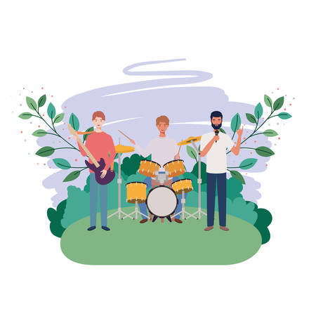 men with musicals instruments and branches and leaves in the background vector illustration design