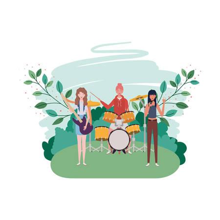 women with musicals instruments on white background vector illustration design Illustration