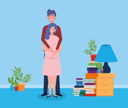 lovers pregnancy couple in the house vector illustration design Illustration