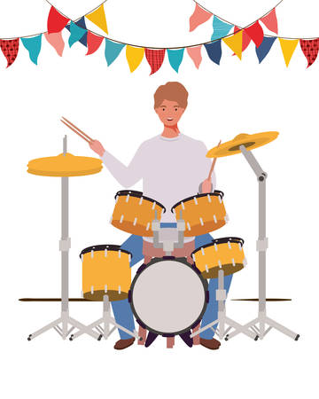 young man with drum kit on white background vector illustration design