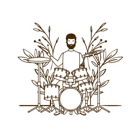 silhouette of man with drum kit and branches and leaves in the background vector illustration design Stock Vector - 130416919