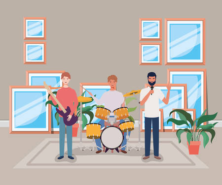 group of men playing instruments in the room vector illustration design Illustration