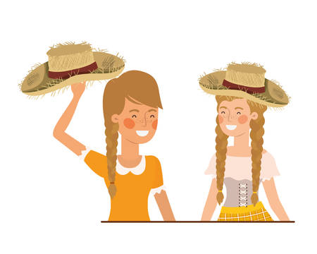 farmers women talking with straw hat vector illustration design
