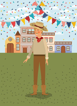 young farmer celebrating with garlands and cityscape vector illustration design
