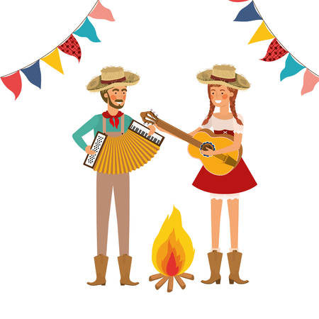 farmers couple with musical instruments vector illustration design