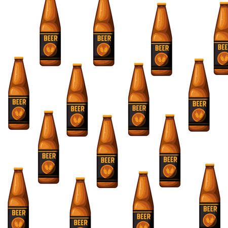 pattern bottle of beer isolated icon vector illustration design
