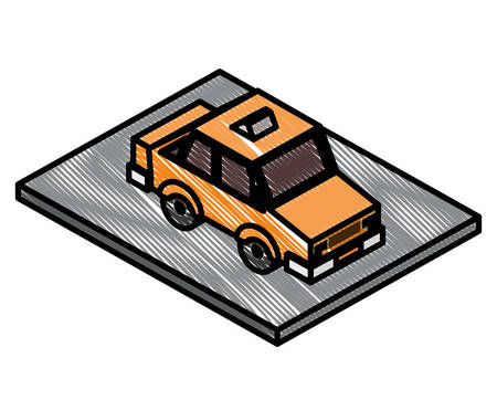 taxi car isometric icon vector illustration design