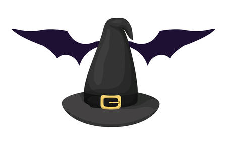 halloween witch hat with bat wings vector illustration design